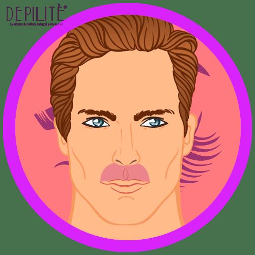 depilación láser en bigote hombre